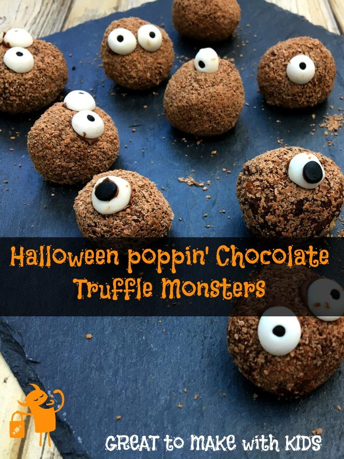 halloween chocolate monster truffles with popping candy